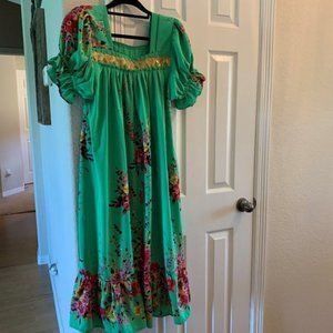 Green floral patio dress One size fits most